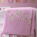 ABC123 Pink Brushed Cotton Cot Blanket