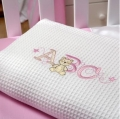 ABC123 Pink Waffle Cot Blanket