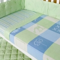 Oslo Green Blue Jacquard Knitted Cot Blanket