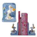 Stork with Baby Book Ends - Blue