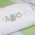 ABC123 Green Waffle Cot Blanket