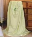 Birdhouse Sage Embroidered Cot Blanket